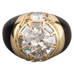 5.60 Carat Diamonds and Bois d'Amourette French Vintage Ring