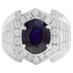 5.60 Carat Natural Diamond and Blue Sapphire 18K Solid Yellow Gold Men's Ring