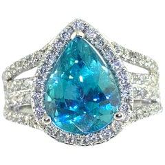 5.61 Carat Blue Zircon and Diamond Cocktail Ring