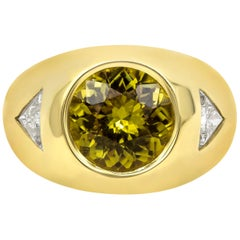 5.61 Carat Round Yellow Sapphire and Diamond Men's Ring