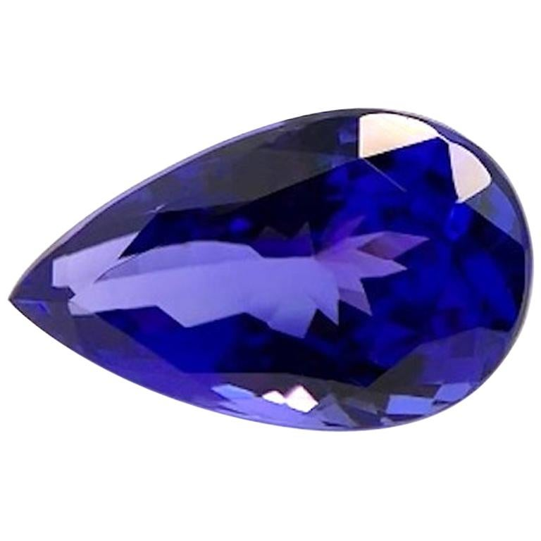 5.61 Carat Tanzanite Pear Shape, Unset Loose Pendant or Engagement Ring Gemstone