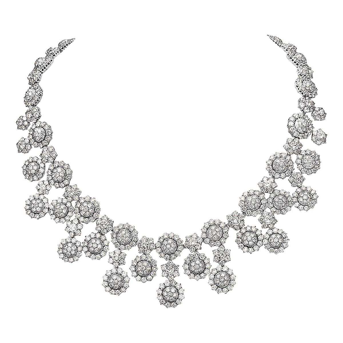 56.18 Carat Round Diamond Necklace 18 Karat White Gold High Collar Necklace
