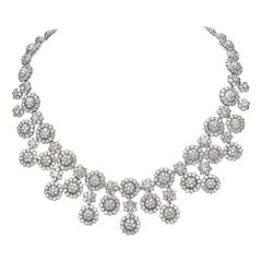 56.18 Carat Round Diamond Necklace 18 Karat White Gold High Collar Necklace