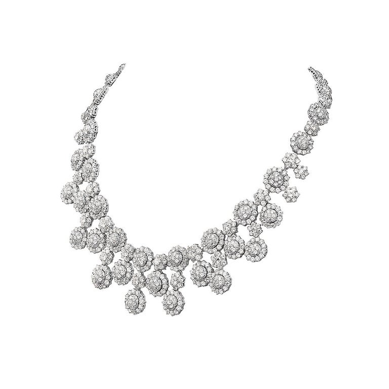 This necklace features 56.18 carats of G-H VS round diamonds set in 18K white gold. 8 inch drop. This necklace was made in Italy with the highest quality standards of craftsmanship and is extremely flexible with a comfort fit.   Viewings available