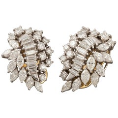 5.62 Carat Diamonds French Clip Earrings
