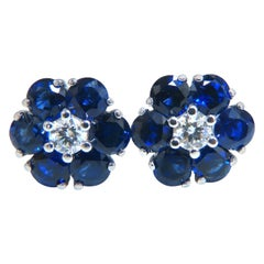 5.62 Carat Natural Sapphire Diamonds Floretta Cluster Snowflake Earrings 14k