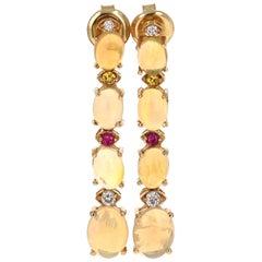 5.62 Carat Opal, Sapphire and Diamond 14 Karat Dangling Gold Earrings