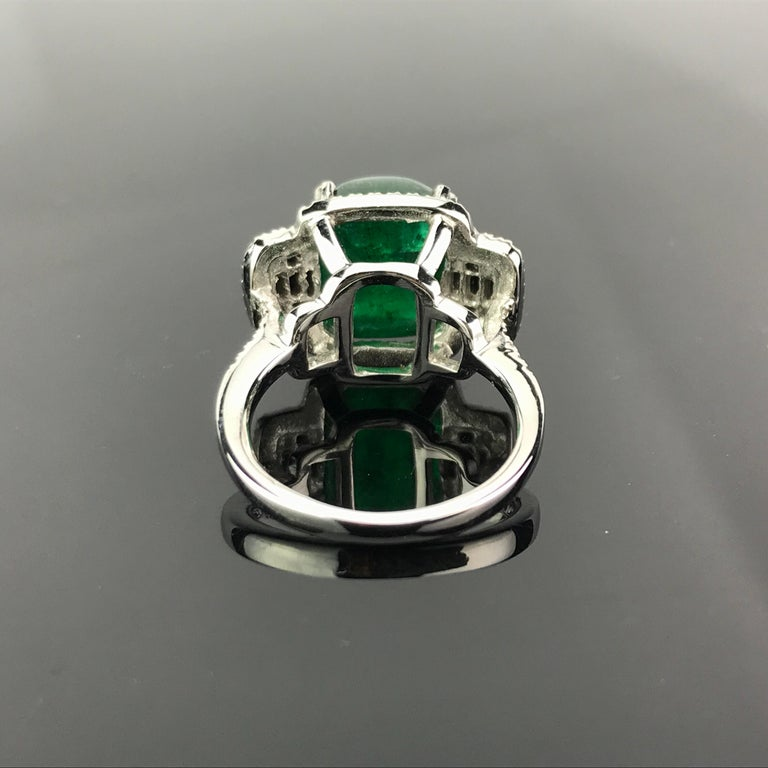 Cushion Cut 5.62 Carat Sugarloaf Shaped Emerald, Diamond and Black Onyx Cocktail Ring