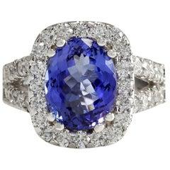5.62 Carat Tanzanite 18 Karat White Gold Diamond Ring