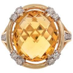 5.63 Carat Citrine and Diamond 18 Karat Yellow Gold Ring