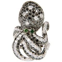 5.63 Carat Diamond and Tsavorite Octopus Shaped Cocktail Ring in 18 Karat Gold
