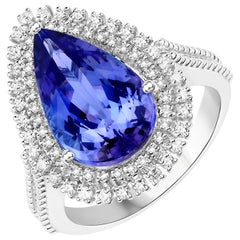5.63 Carat Genuine Tanzanite and White Diamond 14 Karat White Gold Cocktail Ring