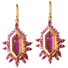 5.63 Carat Pink Tourmaline Gold Geometric Earrings by Lauren Harper
