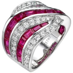 5.63 Carat Ruby Diamond Band 18 Karat White Gold Cocktail Ring