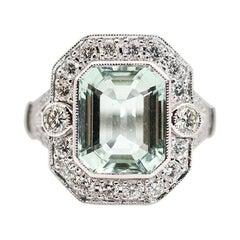 5.63 Carat Sea Foam Emerald Cut Aquamarine and 1.08 Carat Diamond Vintage Ring