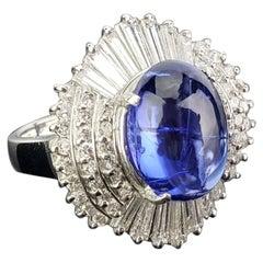 5.63 Carat Tanzanite Cabochon and Diamond Platinum Engagement Ring