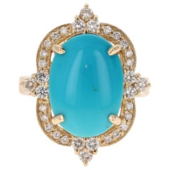 5.63 Carat Victorian Inspired Turquoise Diamond Yellow Gold Ring