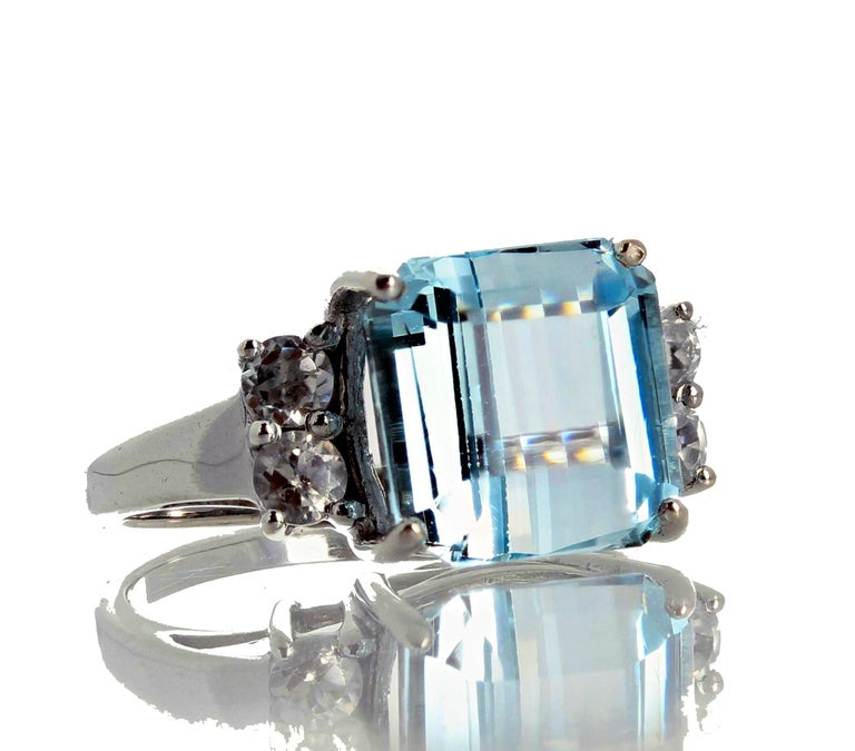 5.64 Carat Aquamarine and Diamond Ring In New Condition For Sale In Tuxedo Park , NY