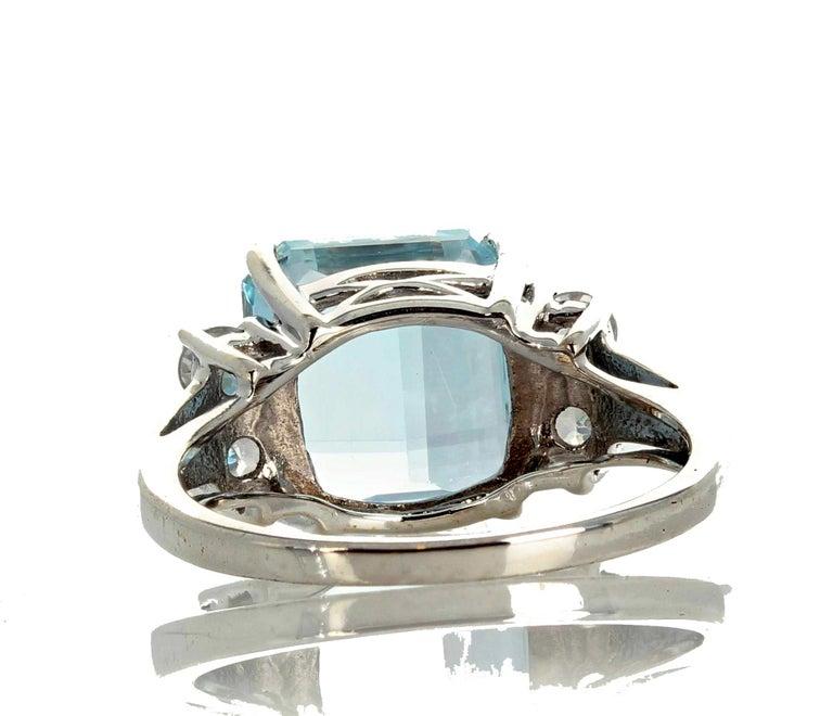 Women's 5.64 Carat Aquamarine and Diamond Ring For Sale