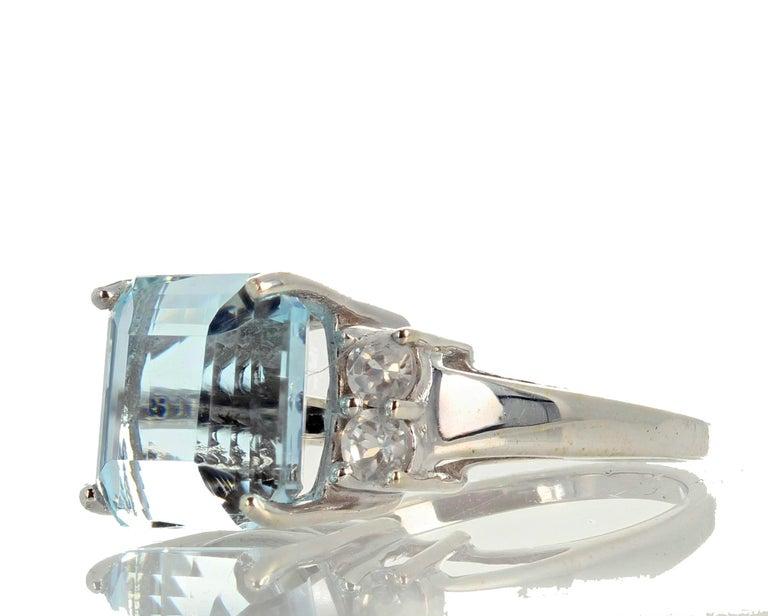 5.64 Carat Aquamarine and Diamond Ring For Sale 1
