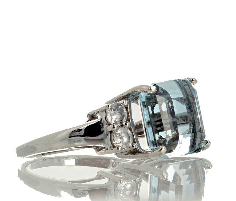 5.64 Carat Aquamarine and Diamond Ring For Sale 2