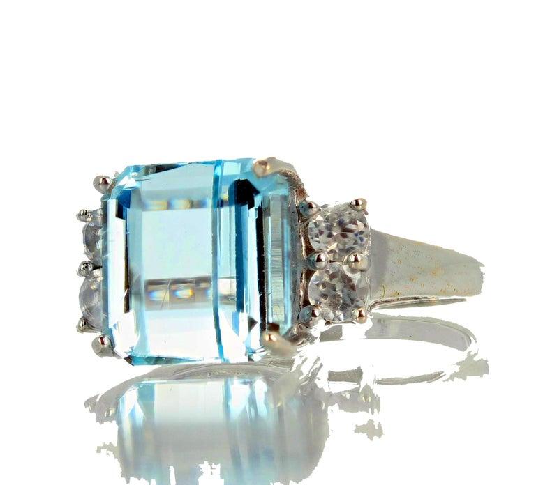 5.64 Carat Aquamarine and Diamond Ring For Sale 3