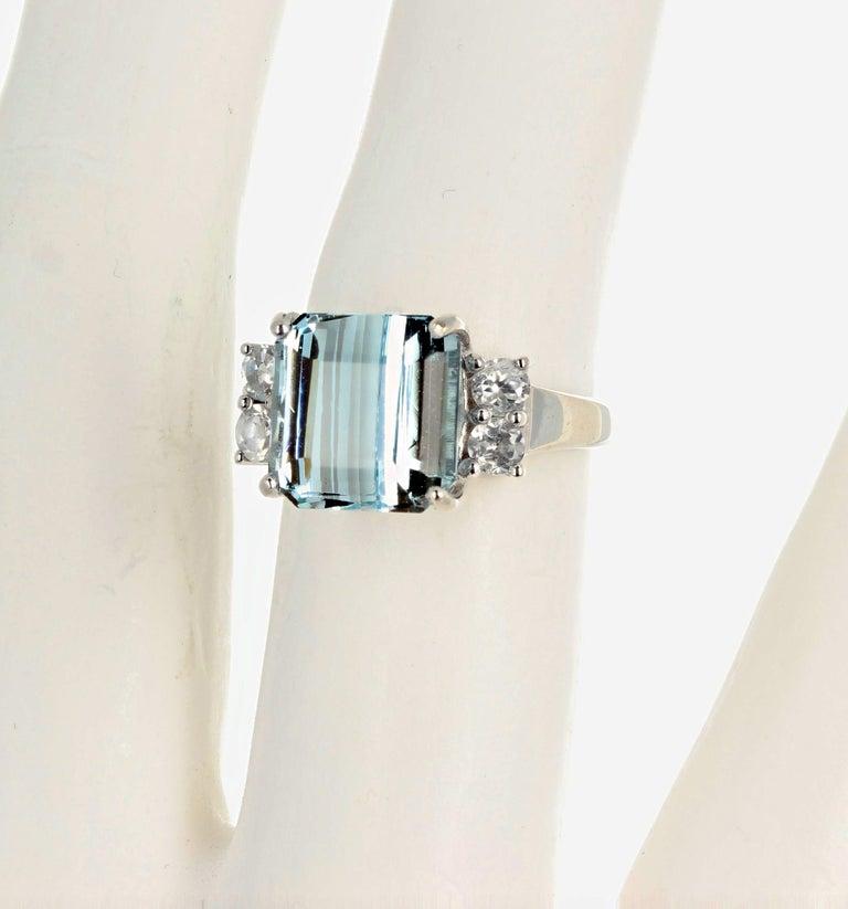 5.64 Carat Aquamarine and Diamond Ring For Sale 4