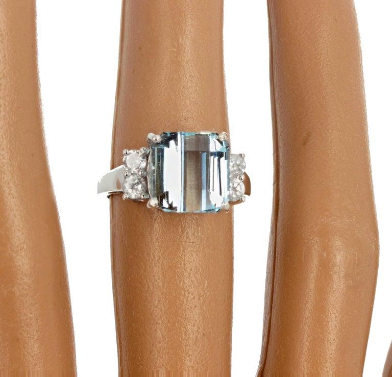 5.64 Carat Aquamarine and Diamond Ring For Sale 5