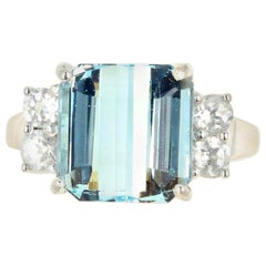 5.64 Carat Aquamarine and Diamond Ring