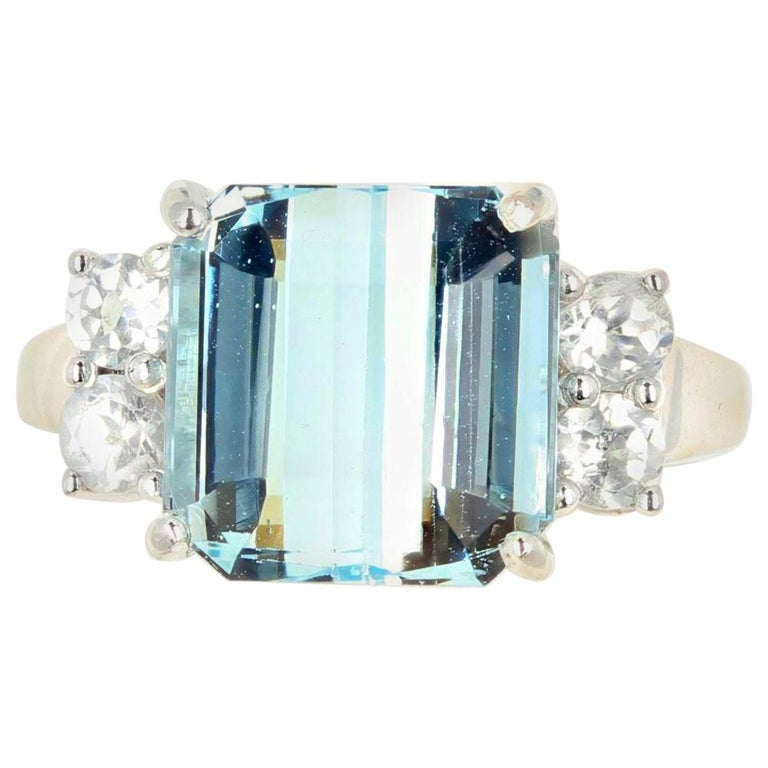 5.64 Carat Aquamarine and Diamond Ring For Sale