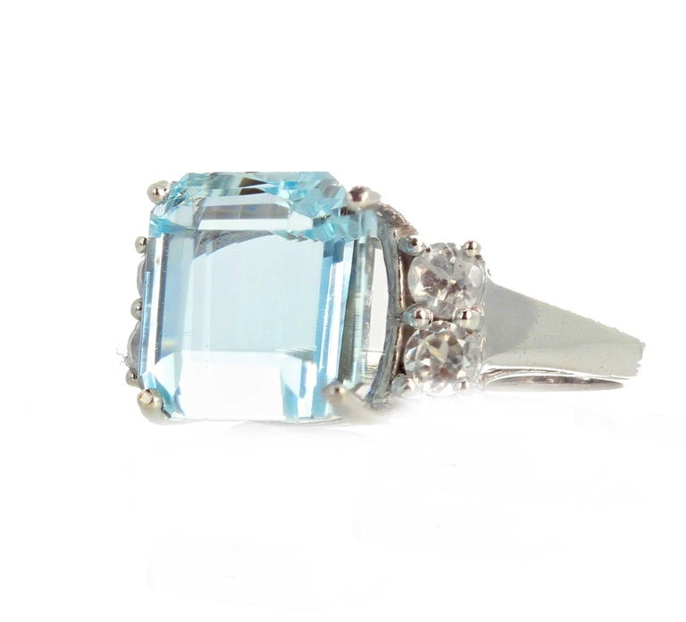 The 0.4 carats of Diamonds enhance the beauty of this magnificent 5.64 carat natural Aquamarine from the famous Santa Maria mine in Brazil.  The Aquamarine and Diamonds are set in a rhodium plated sterling silver size 7 (sizable).  More from this