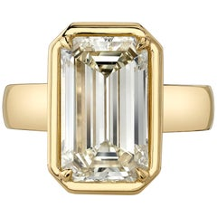 5.64 Carat Emerald Cut Diamond Set in a Handcrafted 18 Karat Yellow Gold Ring