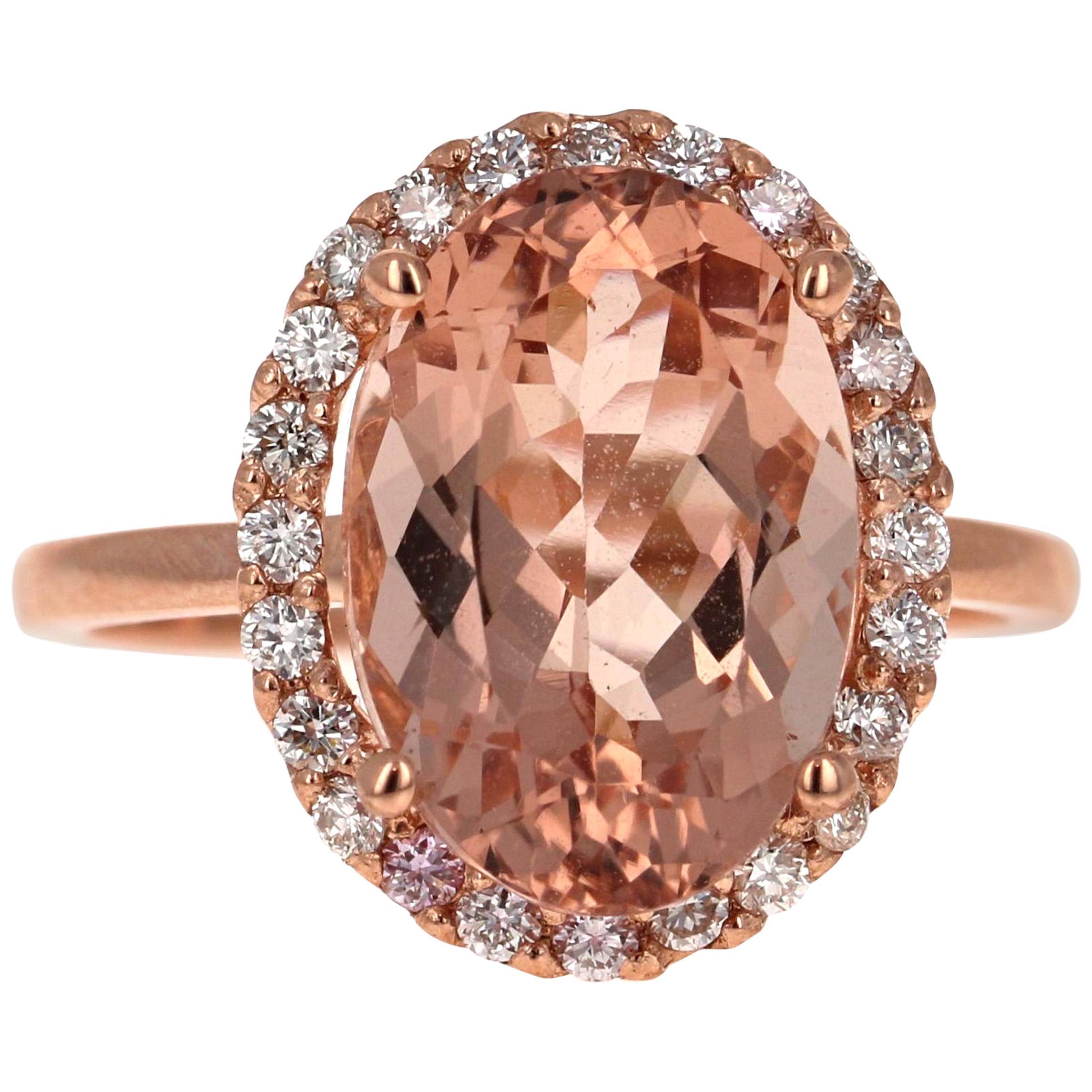5.64 Carat Morganite Diamond 14 Karat Rose Gold Engagement Ring