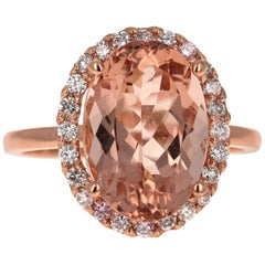 5.64 Carat Morganite Diamond 14 Karat Rose Gold Engagement Ring