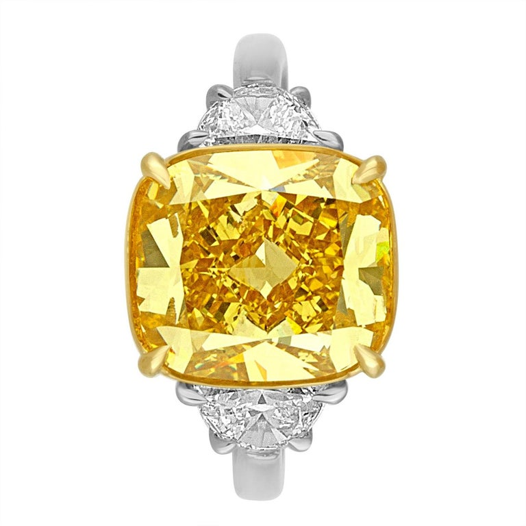 Contemporary 5.64 Carat Yellow Cushion Diamond Two-Color Gold Ring For Sale