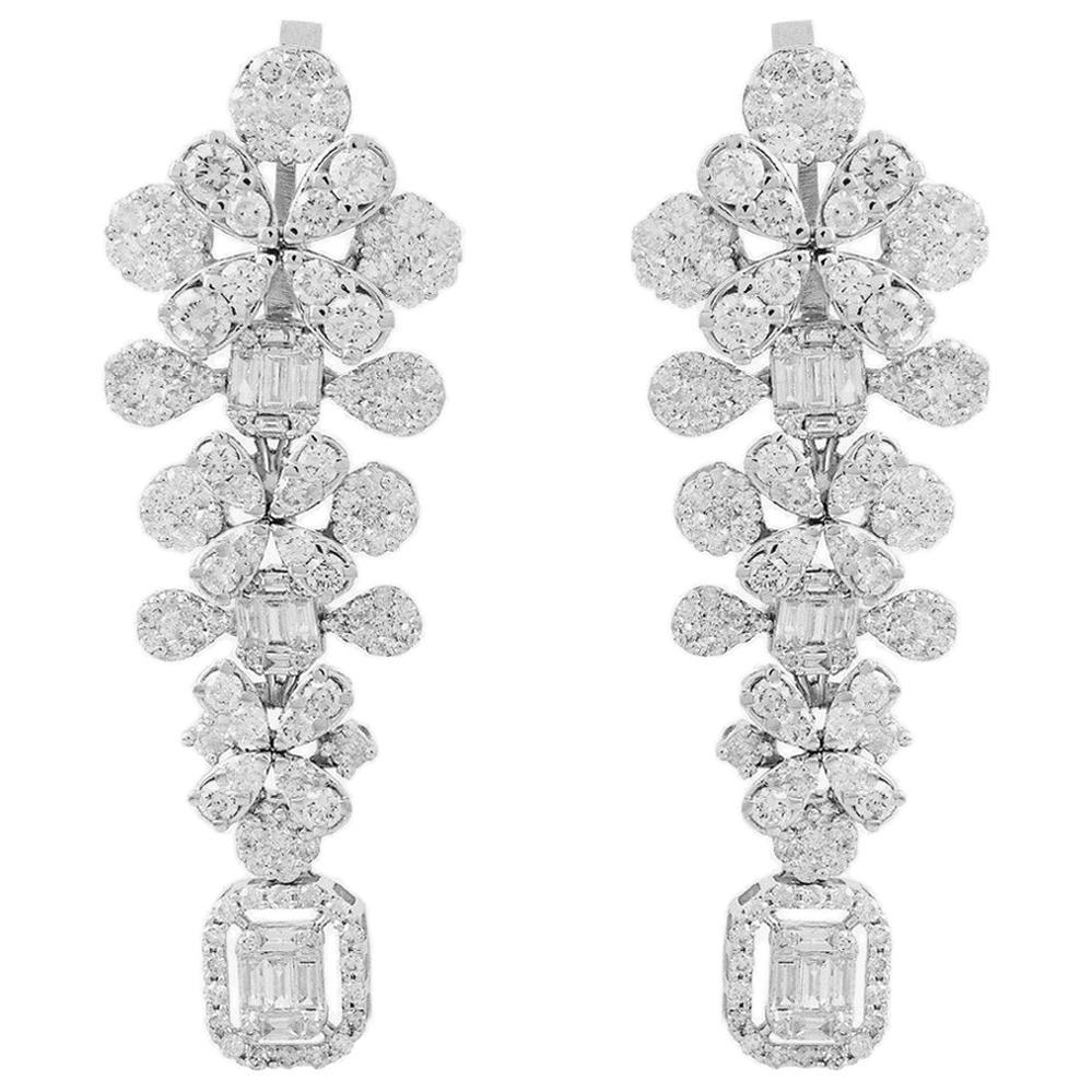5.65 Carat Diamond 18 Karat White Gold Earrings