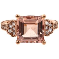 5.65 Carat Morganite Diamond 14 Karat Rose Gold Cocktail Ring
