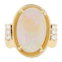 5.65 Carat Oval Cabochon Cut Opal and Diamond Ring, 18 Karat Yellow Gold