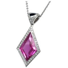 5.65 Carat Pink Sapphire and Diamond Pendant in 18 Karat White Gold