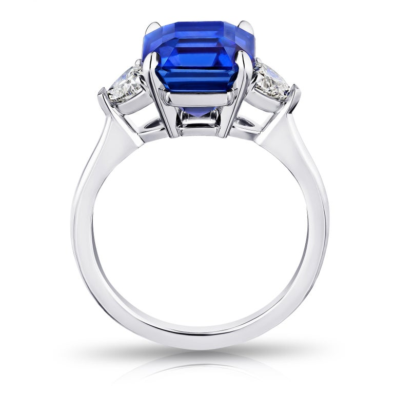 Contemporary 5.65 Carat Square Emerald Blue Sapphire and Diamond Ring For Sale