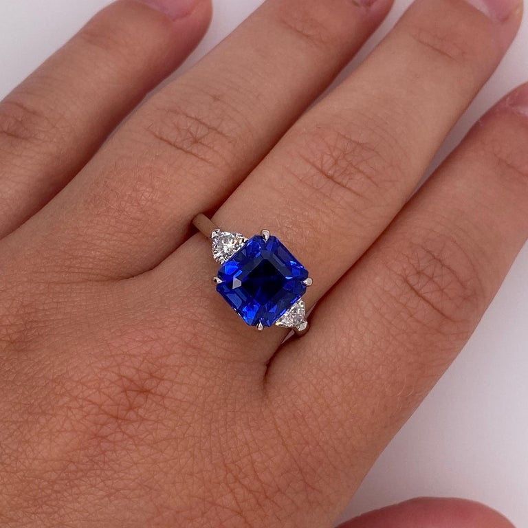 Women's 5.65 Carat Square Emerald Blue Sapphire and Diamond Ring For Sale