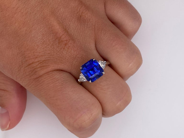 5.65 Carat Square Emerald Blue Sapphire and Diamond Ring For Sale 1