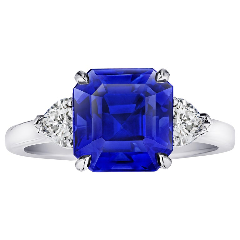 5.65 Carat Square Emerald Blue Sapphire and Diamond Ring For Sale