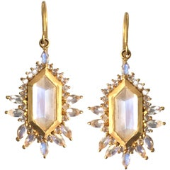 5.65 carats Rainbow Moonstone Gold Earrings by Lauren Harper