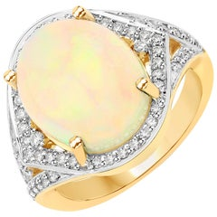 5.66 Carat Ethiopian Opal and Diamond 14 Karat Yellow Gold Ring