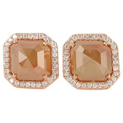 5.66 Carat Fancy Diamond 18 Karat Gold Stud Earrings