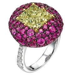 5.66 Carat Illusion Set Yellow Diamond and Ruby 18 Karat White Gold Ring
