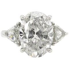 5.66 Carat Oval Diamond 3-Stone Engagement Platinum Ring EGL USA