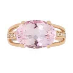 5.66 Carat Oval East West Pink Morganite and Diamond Ring
