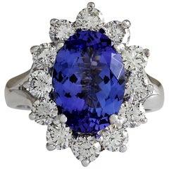 5.66 Carat Tanzanite 18 Karat White Gold Diamond Ring